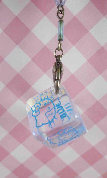 【震撼精品百貨】Hello Kitty 凱蒂貓~KITTY手機吊飾-鈴鐺吊飾-透明方塊藍