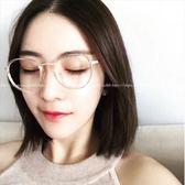 現貨-韓國ulzzang原宿zipper百搭透明金屬古卓眼鏡 穿搭單品復古透明金屬可配近視鏡片眼鏡框 鏡架8