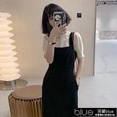 黑色背帶裙套裝女夏新款洋氣女神范上衣顯瘦吊帶洋裝【全館免運】