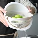 瀝水盆 廚房塑料雙層洗菜籃水果籃濾水盆多...