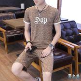 男士短袖t恤休閒運動套裝大碼韓版潮流短袖兩件套夏季帥氣短褲兩件式褲裝LXY3113【野之旅】
