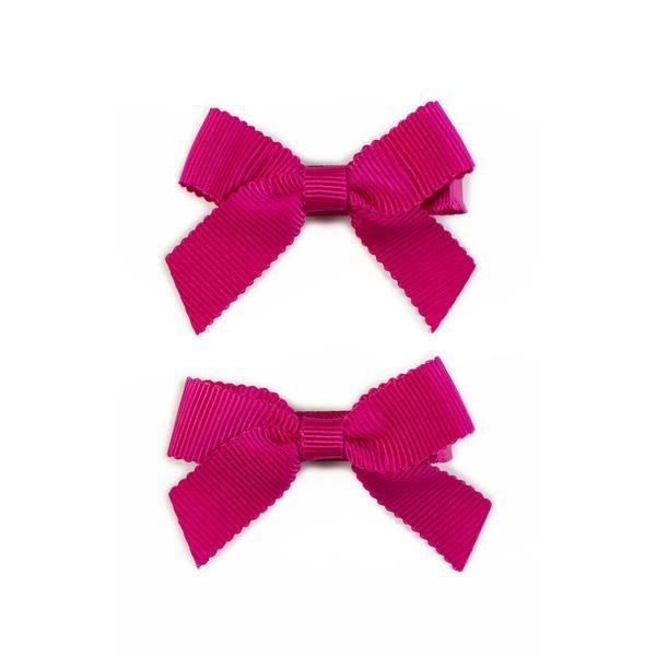 美國 Ribbies Clippies 經典蝴蝶結2入組-亮桃紅