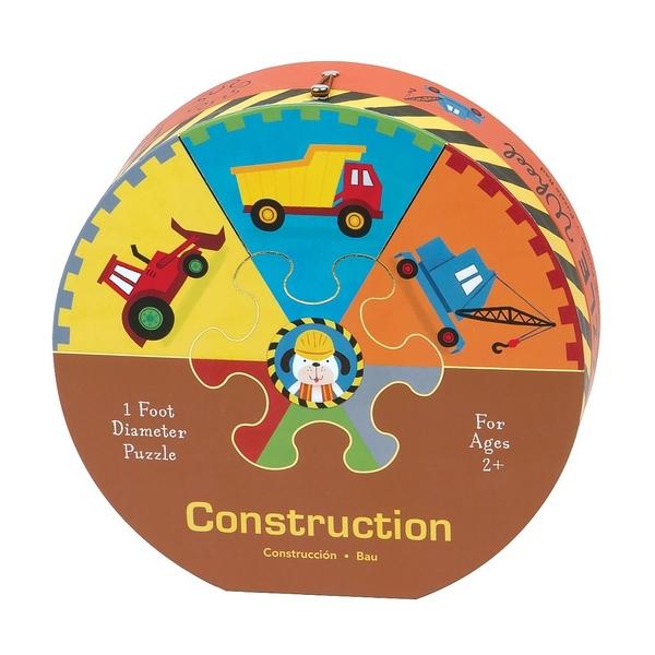 【高質感兒童拼圖】CONSTRUCTION DELUXE PUZZLE /圓形拼圖《主題: 交通工具.色彩訓練》適合年齡: 2~4歲