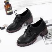 韓版時尚休閒鞋韓版繫帶粗跟鞋百搭單鞋女鞋簡約
