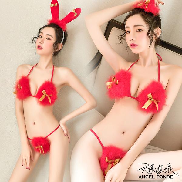 天使波堤【LD0592】三點式毛絨比基尼聖誕過年兔女郎跨年耶誕節情人節萬聖節性感睡衣三件式-紅色