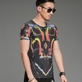 短袖T恤男 韓版休閒上衣 創意復古印花T恤歐美時尚短袖體恤夏季圓領半袖潮流 wx3550