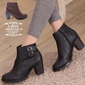 [Here Shoes]2色 雙金屬扣環繞帶皮革機車靴 工程靴  拉鍊低跟短靴 馬丁靴 ◆MIT台灣製─KT2191