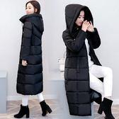 反季棉襖2018新款棉衣女冬季中長款過膝棉服連帽加厚修身大碼外套 藍嵐