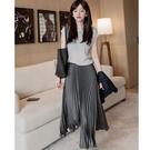 高腰半身裙女夏季新款氣質優雅垂感顯瘦a字傘裙中長款百褶裙1F134-C胖妞衣櫥