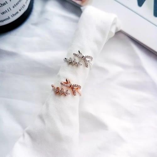 【NiNi Me】戒指 氣質甜美蝴蝶結水鑽開口式戒指 戒指 F0010