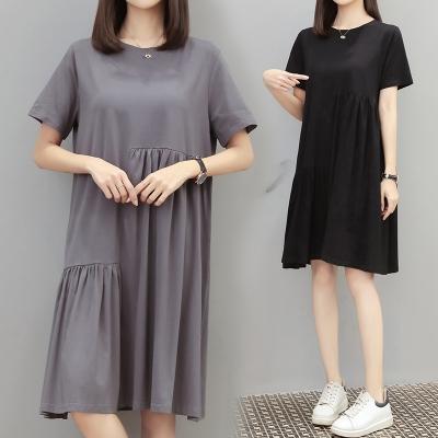 M4XL胖妹妹大碼洋裝連身裙~韓版ins超火寬松大碼中長款不規則t恤連身裙4F101莎菲娜