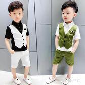 夏季童裝男童西裝馬甲套裝 兒童男孩短袖小禮服 花童主持演出禮服 zm1965【每日三C】