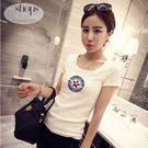 韓版春夏女裝新款修身顯瘦白色短袖T恤  現貨+預購