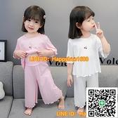 女童莫代爾睡衣夏季女寶寶可愛超萌女童小童空調服薄款女孩家居服【happybee】