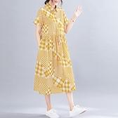 洋裝 中大尺碼女裝 文藝復古2021夏裝新款棉麻寬鬆顯瘦大碼短袖中長款連身裙胖mm