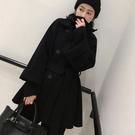 【限時下殺79折】好康推薦秋冬新品OL氣質呢子大衣女黑色中長版正韓羊毛呢外套寬鬆顯瘦