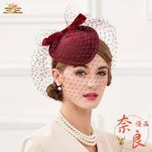 歐美時尚優雅正裝小禮帽百搭復古宴會紗網頭飾【奈良優品】