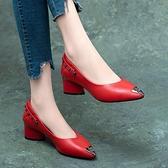 小皮鞋 真皮單鞋女粗跟2021秋季新款大東女鞋中跟紅色尖頭淺口女士小皮鞋 韓國時尚週