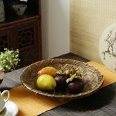 竹編果盤 紫竹日式茶道收納 茶幾茶室書房 竹制品