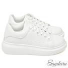 訂製款 防磨腳厚底配色小白鞋-白