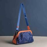 尼龍斜背包時尚尼龍布拼接色女包2020新款休閒斜背包側背媽媽中年多層小包潮 玩趣3C