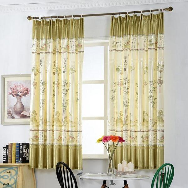 窗簾北歐短簾飄窗客廳臥室成品窗簾布半遮光小窗簾【限量85折】