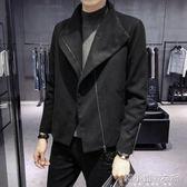 大衣男秋冬新款英倫風外套青年學生翻領短款大衣男YXS     韓小姐