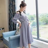 漂亮小媽咪 韓系洋裝 【D3666】 藍白 格紋 五分袖 一字領 棉麻 孕婦連身裙 孕婦裝