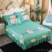 加厚夾棉床罩床裙式防塵罩單件防滑1.2m1.5米1.8床單花邊保護床套LXY5985【Rose中大尺碼】
