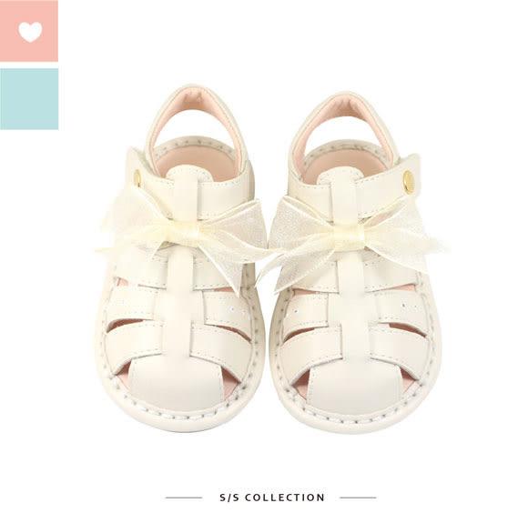 Swan天鵝童鞋-手感編織冰淇淋色寶寶涼鞋1545-米