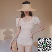 韓國連體身比基尼性感露背小胸遮肚顯瘦保守溫泉泳衣【海闊天空】