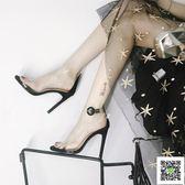 細跟高跟鞋 歐美2019新款性感透明露趾一字扣帶高跟涼鞋女細跟黑色公主小清新 聖誕免運