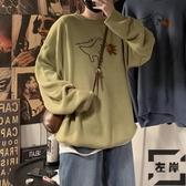 印花毛衣韓版加厚上衣大碼寬松胖子男外套【左岸男裝】