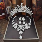 新娘頭飾皇冠婚紗配飾髮飾結婚禮飾品三件套韓式水鑚項錬耳環套裝 薔薇時尚