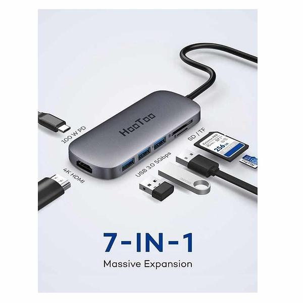 HooToo USB C集線器 HT-UC010 7合1 100W 4K HDMI SD / TF卡讀卡 USB3.0 [2美國直購]