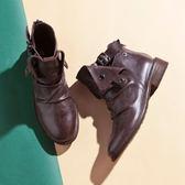 【Fair Lady】率性抓皺扣飾後拉鍊短靴 可可