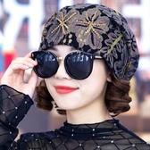 月子帽帽子女春秋 蕾絲花朵包頭帽 謝謝百搭頭巾帽光頭帽薄月子帽