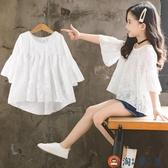 女童短袖t恤韓版寬鬆兒童夏裝雪紡上衣時尚可愛【淘夢屋】