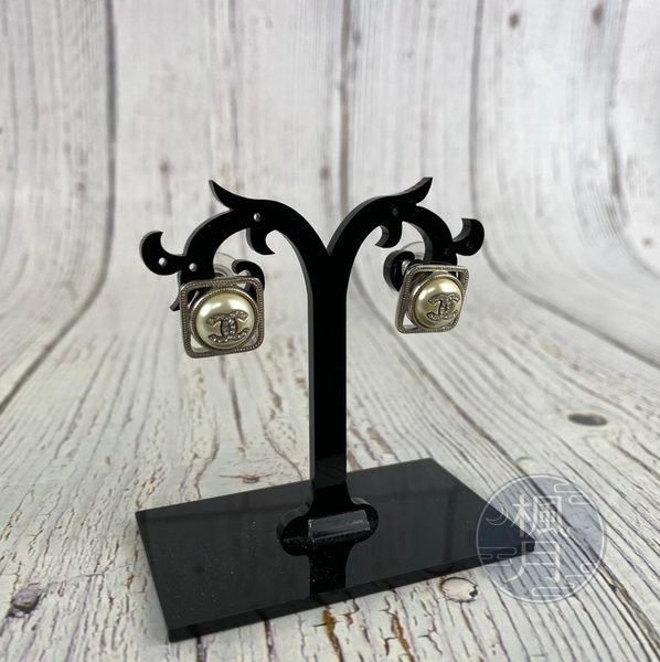 BRAND楓月 CHANEL 香奈兒 AB4066 方形內圓 雙C LOGO 立體 閃亮 耳環 飾品 配件