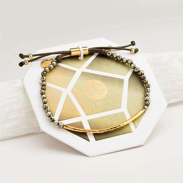 GORJANA  能量黃鐵礦微笑骨鍍18K金手鍊