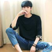 新款男士韓版t恤圓領寬鬆男生七分袖擦肩袖迷彩中袖衣服  ciyo黛雅