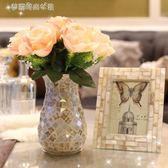 歐式美式模擬玫瑰插百合綠蘿玻璃花瓶客廳餐桌臥室擺件假花藝套裝 YXS〖夢露時尚女裝〗
