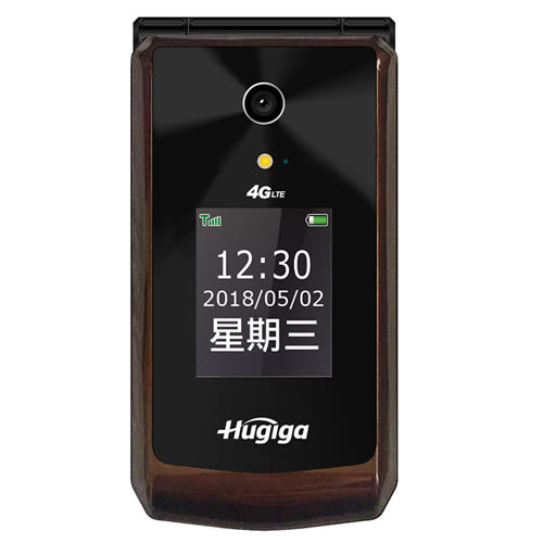 Hugiga L66 4G LTE翻蓋機 - 棕色【愛買】