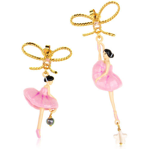 Les Nereides 優雅芭蕾舞女孩系列 閃亮蝴蝶結淺粉紅色女孩耳環 來自法國 平輸【美麗購】