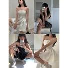 2021新款白色抹胸無袖洋裝女夏法式立體提花收腰顯瘦a字蓬蓬裙 幸福第一站
