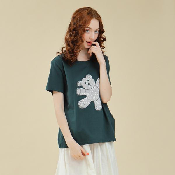 【中大尺碼】心點貼布繡熊熊棉T