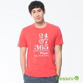 印花短袖T恤16茄紅-bossini男裝