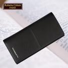【Roberta Colum】諾貝達 男用專櫃皮夾 進口軟牛皮長夾(25008-1黑色)【威奇包仔通】