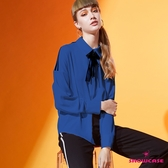 【SHOWCASE】氣質織帶造型領結襯衫(藍)