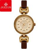 JULIUS 聚利時 宮廷華服鑽飾復古皮錶帶腕錶-深咖啡色/27mm 【JA-846E】